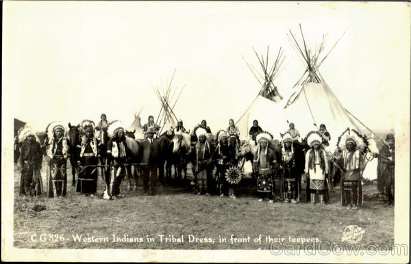 Western Indians In Tribal Dress Native Americana