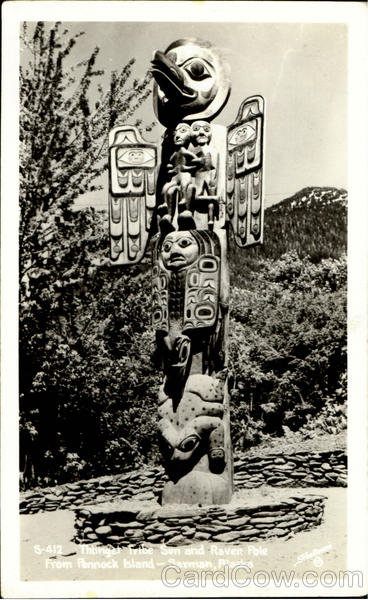 Thlinget Tribe Sun And Raven Pole Vintage Postcard