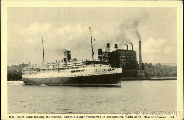 S. S. Saint John Leaving For Boston New Brunswick Steamers