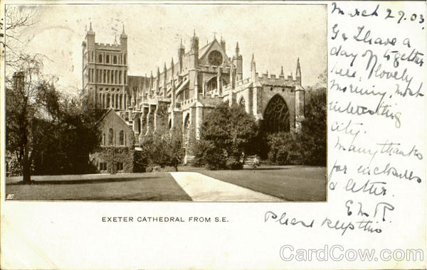Exeter Cathedral From S.E England