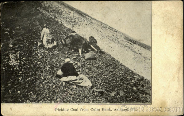 Picking Coal From Culm Bank Ashland Pennsylvania Mining