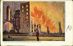 Flames Following The Earthquake Shock, Market Street Postcard