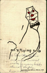 On A Flying Trip - Kite Postcard