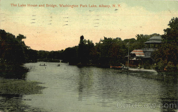The Lake House and Bridge, Washington Park Lake Albany New York