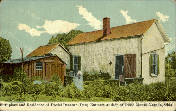 Birth Place And Residence Of Daniel Decatur Emmett Mt. Vernon Ohio