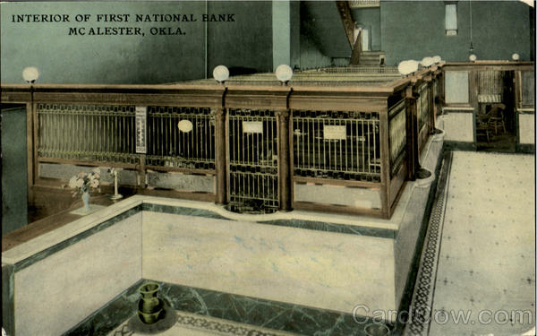 Interior Of First National Bank Mc Alester Oklahoma