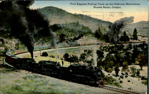 Five Engines Pulling Train Up The Siskiyou Mountain Oregon