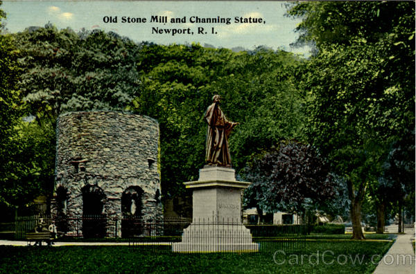 Old Stone Mill And Channing Statue Newport Rhode Island
