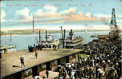 River Front And Levee Missouri River Postcard