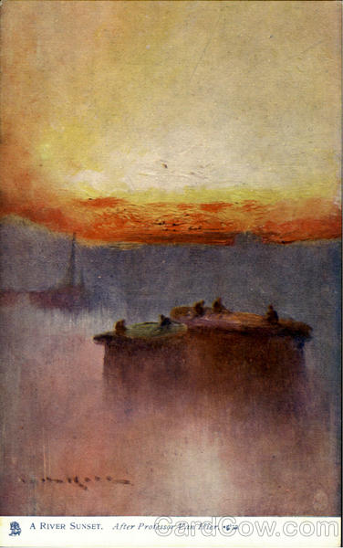 A River Sunset Tuck's Oilette Series