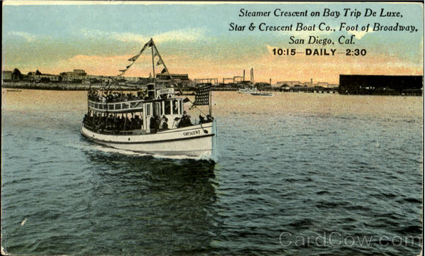 Steamer Crescent On Bay Trip De Luxe San Diego California