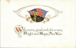 Bright And Happy New Year Postcard