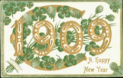 1909 A Happy New Year Postcard