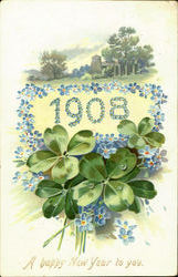 1908 A Happy New Year To You Postcard