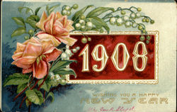 1908 Wishing You A Happy New Year Postcard