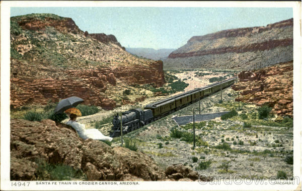 Santa Fe Train In Crozier Canyon Arizona Fred Harvey