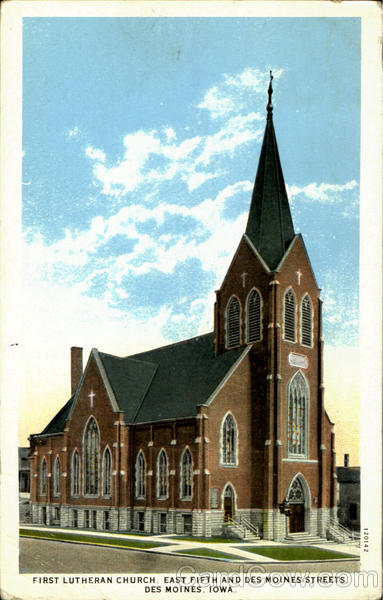 First Lutheran Church, East Fifth and Des Moines Streets Iowa