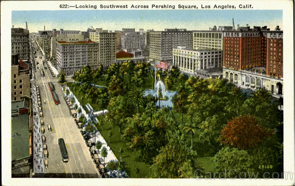 Looking Southwest Across Pershing Square Los Angeles California