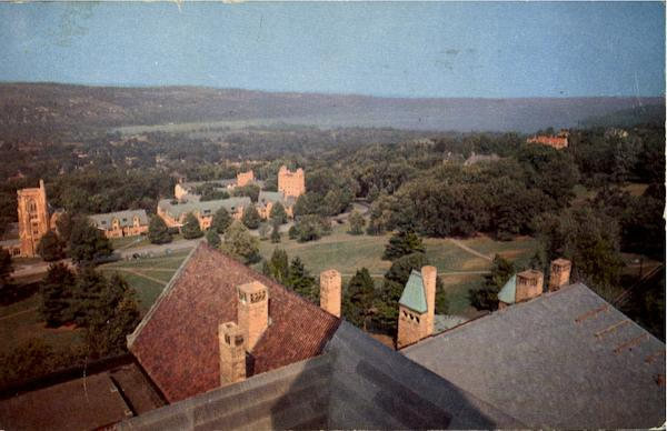 Campus Cornell University And Glimpse Of Cayuga Lake, Cornell University Ithaca New York