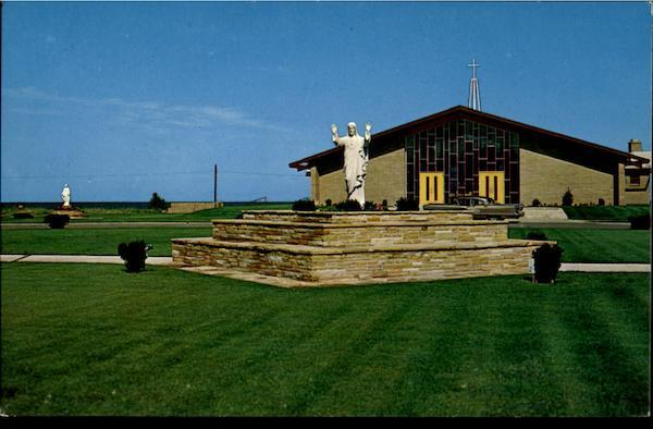 Oscoda MI Sacred Heart Church Postcard - Michigan   eBay