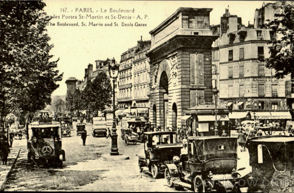 The Boulevard, St. Marin and St Denis Gates Paris France
