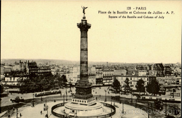 Square Of The Bastille And Column Of July Paris France