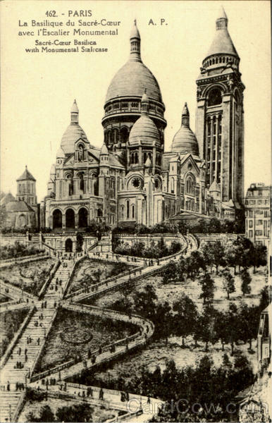 Sacre Coeur Basilica With Monumental Staircase Paris France