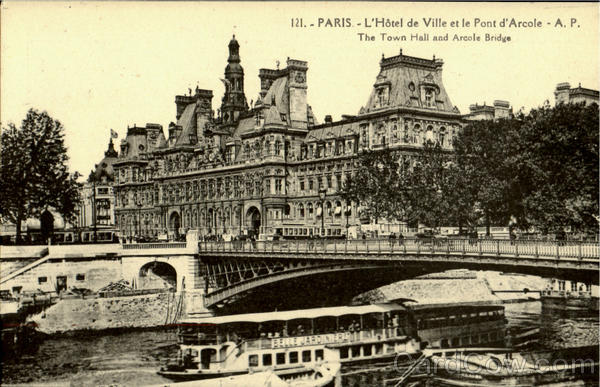 The Town Hall And Arcole Bridge Paris France