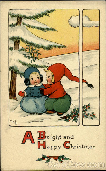 A Bright And Happy Christmas Children Artist Signed