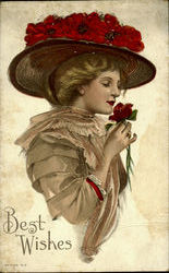 Woman with Rose Hat Postcard