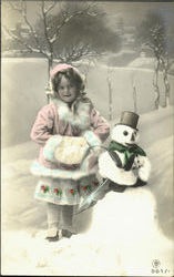 Girl with Snowman - Tinted