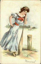 Woman on Dock with Oar
