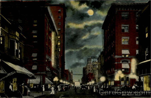 Locust St. Looking East From Seventh At Night Des Moines Iowa