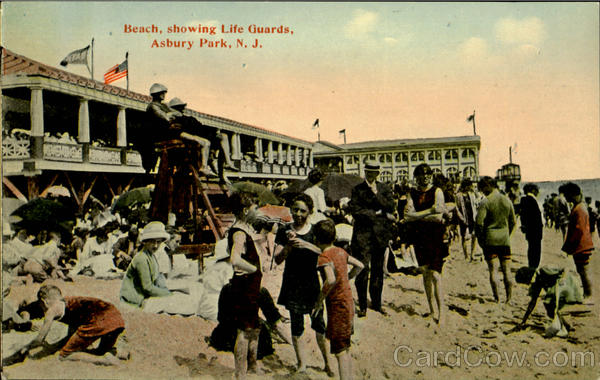 Beach Showing Life Guards Asbury Park New Jersey