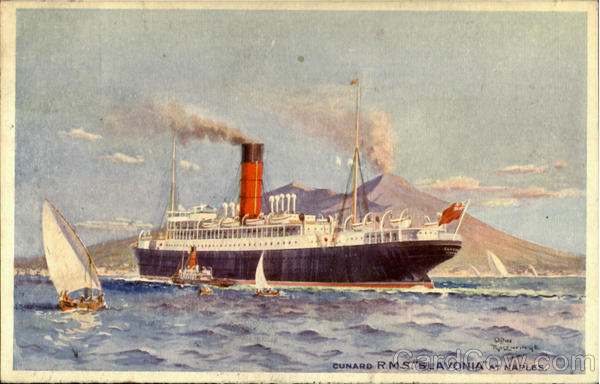 Cunard R.M.S. Slavonia at Naples Boats, Ships