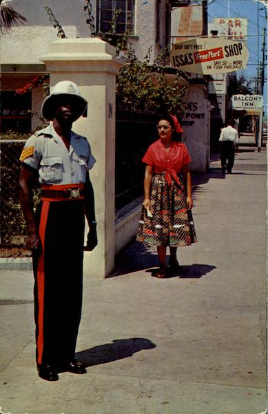 A Jamaican The W. I. Policeman In Colorful Uniform