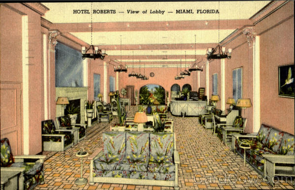 Hotel Roberts View Of Lobby Miami Florida