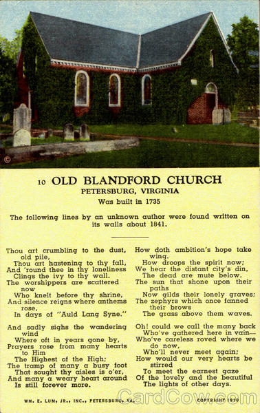 Old Blandford Church Pitersburg Virginia