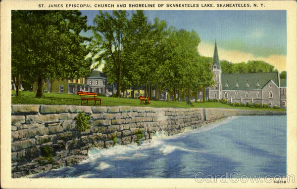 St. James Episcopal Church And Shoreline Of Skaneateles Lake New York