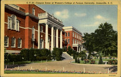 Campus Scene At Women's College, Furman University Postcard