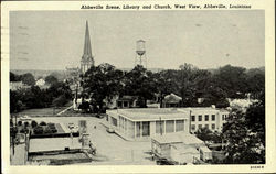Abbeville Scene Library And Church Postcard