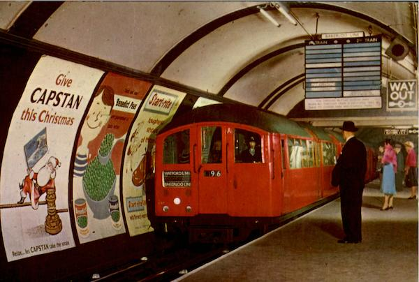 Tub Train Entering Piccadilly Circus Station London England