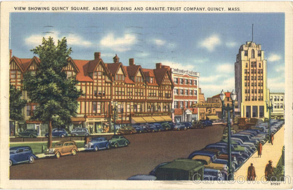 View Showing Quincy Square, Adams Building and Granite Trust Company Massachusetts