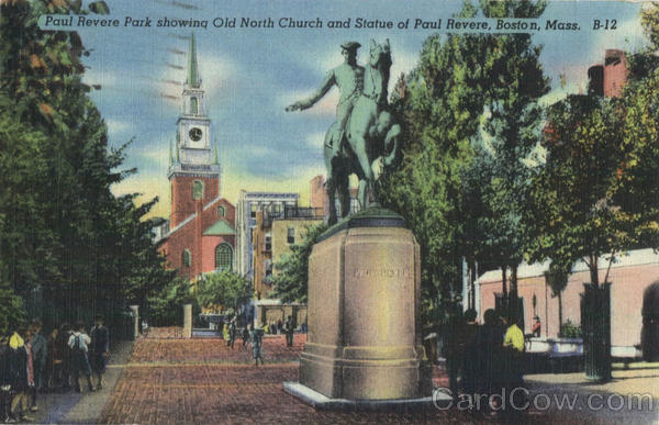 Paul Revere Park Showing Old North Church and Statue of Paul Revere Boston Massachusetts