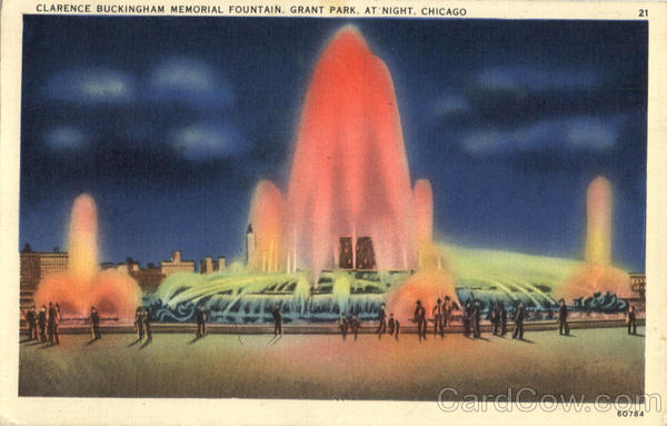 Night Scene of Clarence Buckingham Memorial Fountain, Grant Park Chicago Illinois