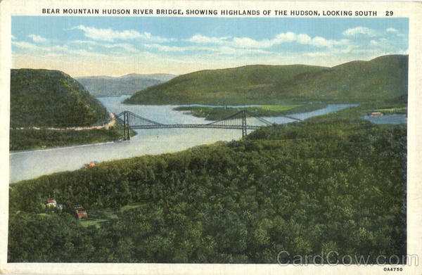Bear Mountain Hudson River Bridge, Showing Highlands of the Hudson, Looking South New York