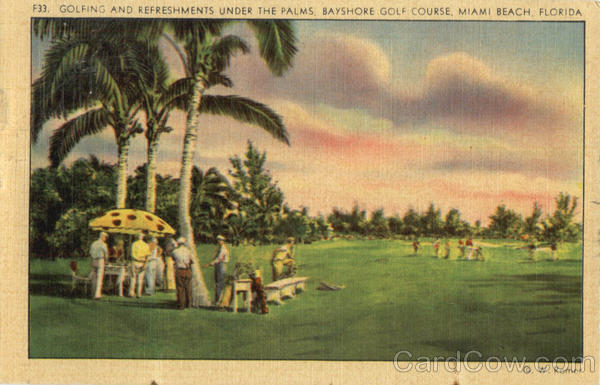 Bayshore Golf Course Golfing and refreshments under the Palms Miami Beach Florida