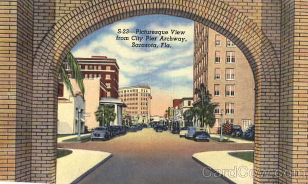 Picturesque View from City Pier Archway Sarasota Florida