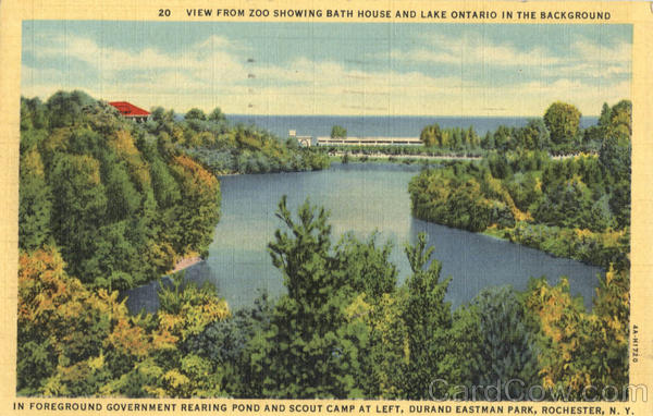 View from Zoo Showing Bath House and Lake Ontario in the Background, Durand Eastman Park Rochester New York