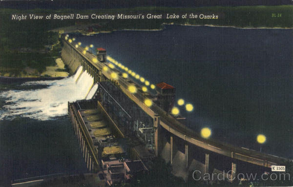 Night View Bagnell Dam Missouri's Great Lake of the Ozarks Lakeside